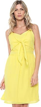 Ana Hickmann Vestido Ana Hickmann Curto Recortes Amarelo