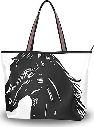 Lorona Women Black Horse Head Canvas Shoulder Hand Bag Large Capacity Tote Bag