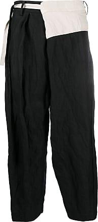 Ziggy Chen colour-block cropped trousers - Black