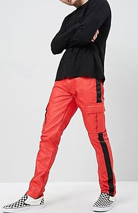 21 Men American Stitch Coated Ankle-Zip Jeans at Forever 21 Red/black