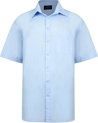 Espionage Mens Kingsize SH147 Plain Collar Short Sleeve Shirt 5XL-68 (to fit 58-60) Blue