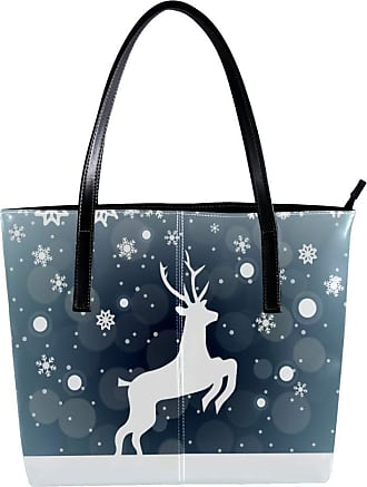 Nananma Womens Bag Shoulder Tote handbag Zipper Purse Top-handle Zip Bags - Reindeer In Winter Snow