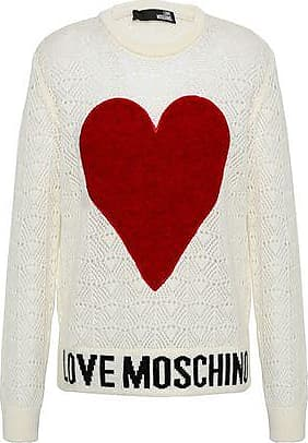 Love Moschino Love Moschino Woman Felt-appliquéd Pointelle-knit Sweater Off-white Size 42