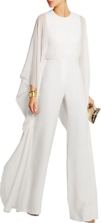 Vdual Women Long Sleeve Romper Chiffon Sheer Ruffle Wide Leg Jumpsuits White