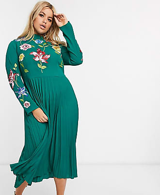 Asos Curve ASOS DESIGN Curve pleated embroidered midi dress in forest green