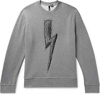 Neil Barrett Embroidered Loopback Cotton-jersey Sweatshirt - Gray