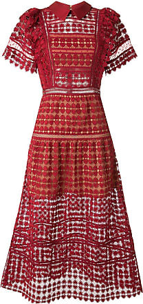 Self Portrait crochet midi dress - Red