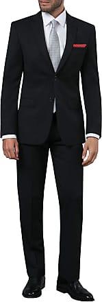 Dobell Mens Black 2 Piece Suit Regular Fit Notch Lapel (50R Jacket with 44R Trousers)