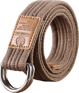 Zhhlaixing Canvas Belts Webbing Double D Ring Buckle Web Belt with Metal Tip Solid Color Breathable Sports Belt for Men/Women/Junior