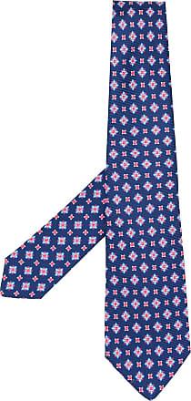Kiton Gravata de seda com bordado geométrico - Azul