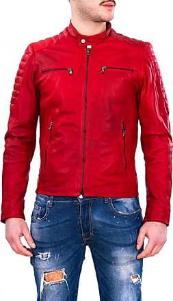 Leather Trend Italy U05 - Giacca Uomo in Vera Pelle colore Rosso Invecchiato Morbida
