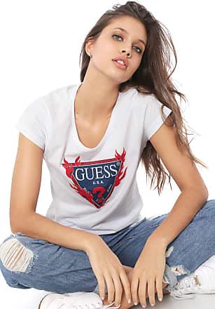 Guess Blusa Guess Logo Fogo Branca