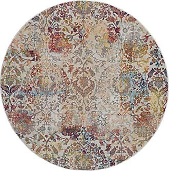 Nourison Global Vintage White and Orange French Country Area Rug 6 x 6 ROUND