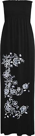 Be Jealous Women Floral Bandeau Boobtube Sheering Maxi Dress Black