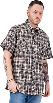 JD Williams Mens Regular Big Size Shirts Checked Cotton Blend Casual Short Sleeve Blue M-5XL