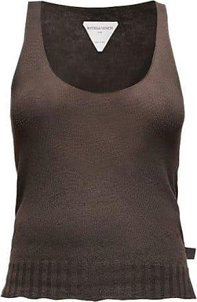 Bottega Veneta Scoop-neck Fine-knit Cashmere Tank Top - Womens - Dark Brown