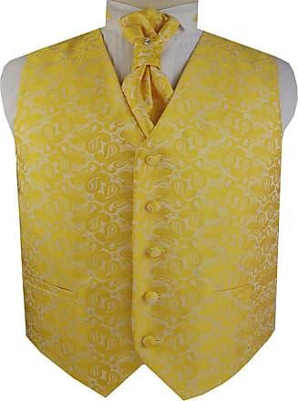 Generic Mens Classic Paisley Floral Jacquard Waistcoat&Necktie and Pocket Square Vest Suit Set (Yellow, s)