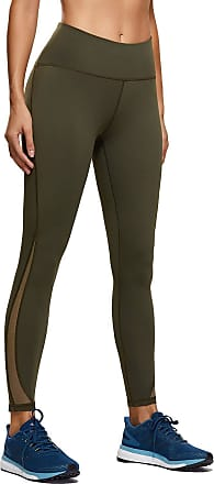 CRZ YOGA Womens Naked Feeling High Waist 7/8 Mesh Yoga Pants Gym Leggings with Pocket-25 Inches Dark Olive-Zip Pocket 14