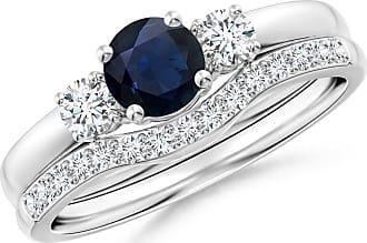 Angara Valentine Day Sale - Sapphire and Diamond Three Stone Bridal Set