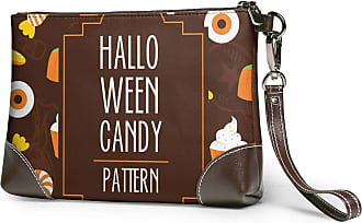 GLGFashion Womens Leather Wristlet Clutch Wallet Halloween Candy Storage Purse With Strap Zipper Pouch