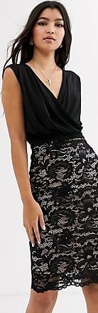 Lipsy Svartvit 2-i-1-fodralklänning med spetskjol