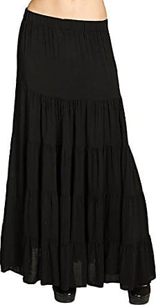 15aad910ba8e6d CASPAR Fashion CASPAR RO020 langer eleganter Damen Maxi Sommer Rock  Faltenrock, Farbe:schwarz;