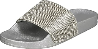 Spot On Ladies Diamante Sliders - Silver Synthetic - UK Size 5 - EU Size 38 - US Size 7
