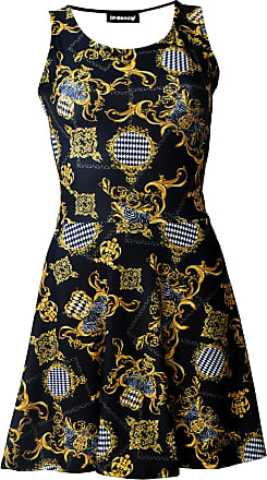 Insanity Royal Baroque Floral Damask Print Skater Dress (XXL)