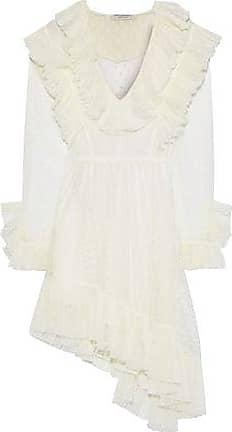 Philosophy di Lorenzo Serafini Philosophy Di Lorenzo Serafini Woman Asymmetric Ruffled Swiss-dot Tulle Mini Dress Ivory Size 40