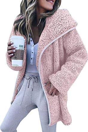 TOMWELL Womens Fuzzy Fleece Open Front Cardigan Coat Outwear with Pockets Pink UK 14