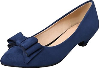 YOUJIA Womens Low Cone Heel Court Shoes Pointed-Toe Slip On Dolly Party Evening Office Shoes with Bows (Blue, CN 41 / EU 40)