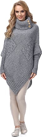 Merry Style Womens Poncho Moena(Melange/Grey, One Size)