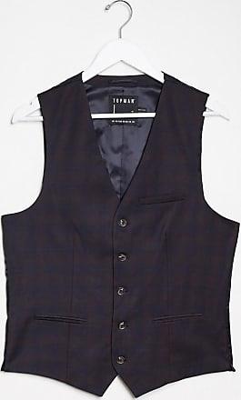 Topman suit waistcoat in burgundy check-Red