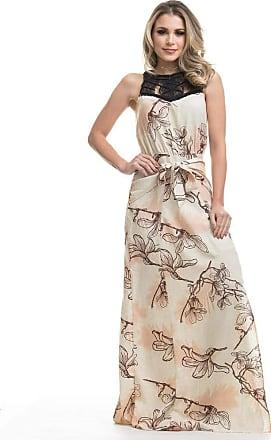 Clara Arruda Vestido Clara Arruda Longo Decote Macramê 50422 - Gg - Castanho