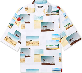 CALVIN KLEIN 205W39NYC Camp-collar Printed Cotton-poplin Shirt - White