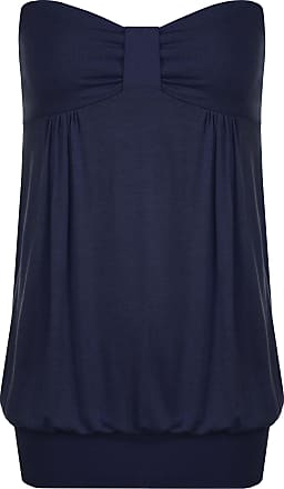 WearAll Womens Plus Size Plain Strapless Sleeveless Ladies Long Boob Tube Top - Navy Blue - 16-18