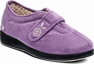 Padders CAMILLA Ladies Extra Wide (EE) Fitting Velcro Slippers Lavender UK 3