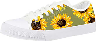 Coloranimal Comfortable Women Casual Walker Shoes Classic Running Vulcanize Low-top Sport Female Footwear Beautiful Sunflower Leisure Canvas Flats Jogging EU36