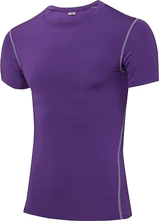 YiJee Mens Compression Quick Dry Elastic Athletic Short Sleeve T Shirt Purple 3XL