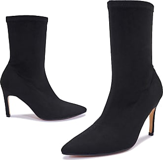 Truffle Taylor Womens Black Faux Suede Celebrity High Heel Ankle Boots Shoes - Black - UK 7