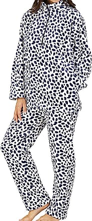 Slenderella Ladies Super Soft 320GSM Fleece Medium Blue Half Zip Collared Spotted Lounge Suit Pyjammas