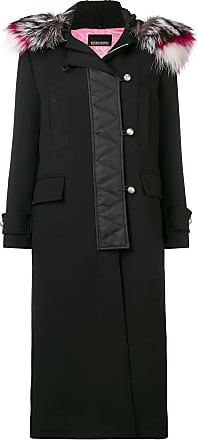 Ermanno zipped up long coat - Black