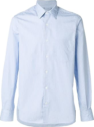 Aspesi Camisa slim listrada - Azul