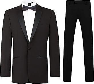 Dobell Mens Black 2 Piece Tuxedo Regular Fit Notch Lapel Evening Dinner Suit (38L Jacket with 32L Trousers)