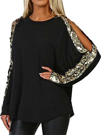 Yoins Women Cold Shoulder Cutout Blouses Round Neck Long Sleeved Top Shirt Pullover with Gloss Sequins, Black-new, XXL