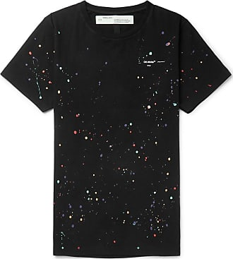 Off-white Paint-splattered Cotton-jersey T-shirt - Black