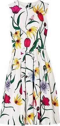 Carolina Herrera Carolina Herrera Woman Pleated Floral-print Cotton-blend Dress White Size 14