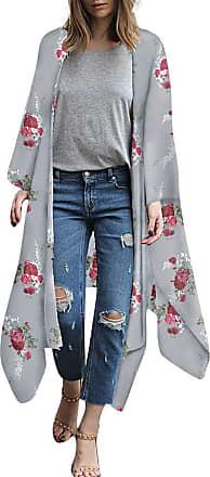 NPRADLA Women Floral Print Chiffon Loose Shawl Kimono Cardigan Top Cover up Shirt Blouse (5XL, Y-Gray)
