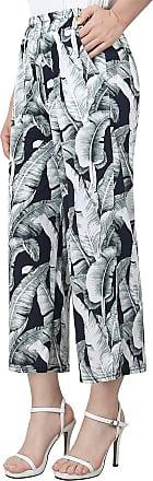 Ililily Women Side Slit Wide Elastic Palazzo Pants Stretchable Capri Trousers, Green, US-S