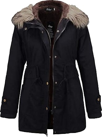 VITryst Womens Long Sleeve with Pockets Thicken Faux Fur Trim Hood Zipper Drawstring Waist Short Down Jackets Jacket,Black,X-Small
